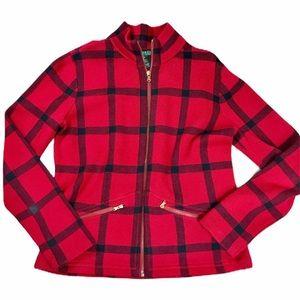 RALPH LAUREN plaid zip up coat. SZ med
